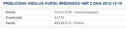 Przeliczenie 103,91€ na PLN