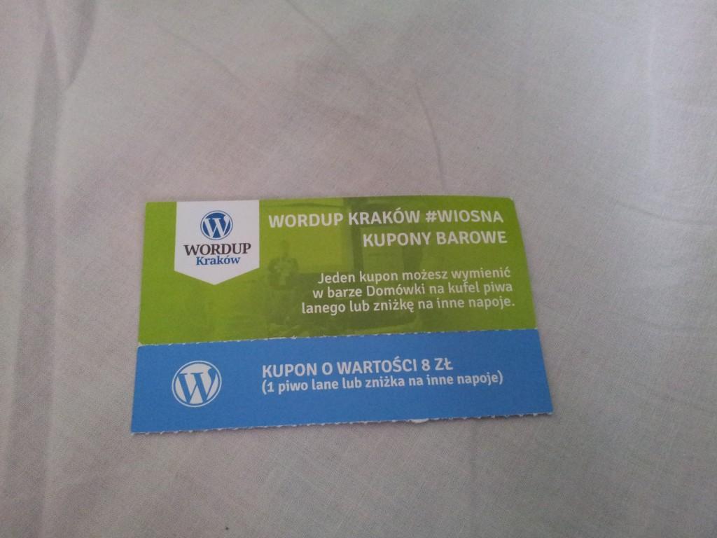 Kupon na piwo WordUp Kraków #wiosna