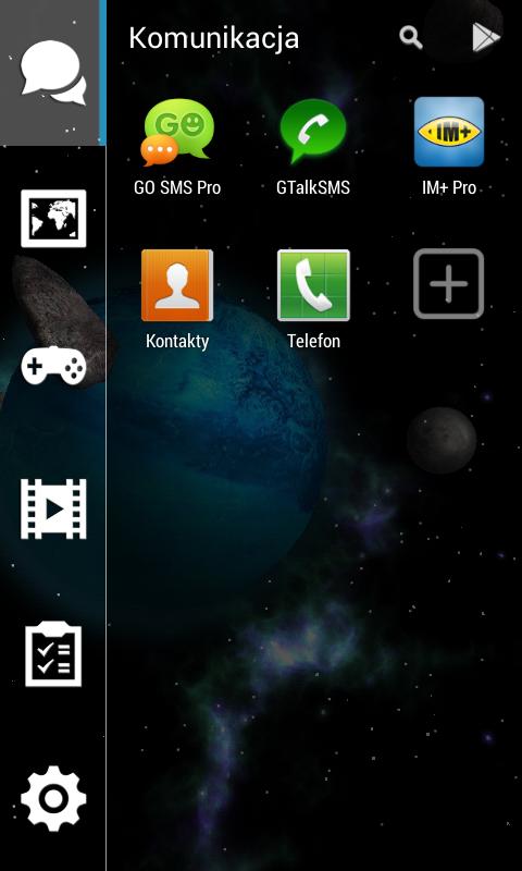 Smart Launcher 2 - ekran główny z kategoriami aplikacji