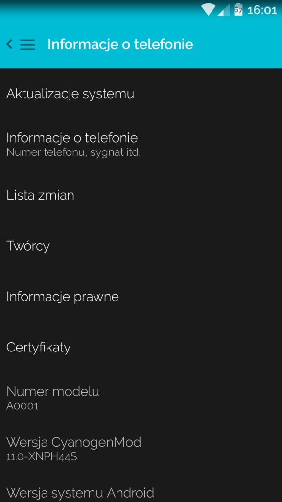 OnePlus One po aktualizacji do 44S