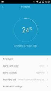 Zużycie baterii Mi Band